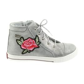 Šedá Boty boty dívčí stříbrné Ren But 4279