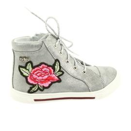 Šedá Boty boty dívčí stříbrné Ren But 3237