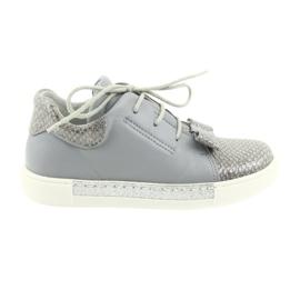 Ren But šedá Ren boty 3303 šedé kožené boty