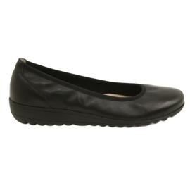 Černá Komfortní kožené baleríny Caprice 22150