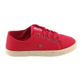 Big Star Ballerinas espadrilles dámské boty červená velká hvězda 274424
