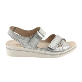 Šedá Caprice sandály dámské kožené boty stříbrné