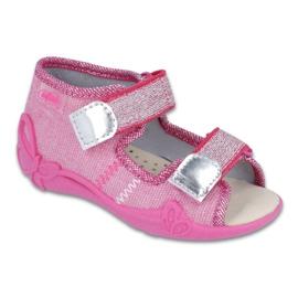 Růžový Befado žlutá dětská obuv 342P001