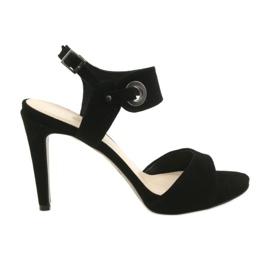Černá Kožené sandály na čepu Edeo 3208 černé