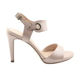Sandály kůže na pin Edeo 3208 růžový prášek