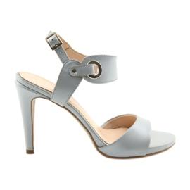 Sandály kůže na čepu Edeo 3208 šedá