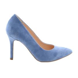 Čerpadla na kolíku dámské boty Edeo 3313 modrá modrý