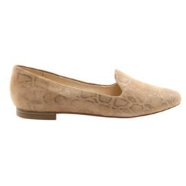 Hnědý Dámské kožené baletní boty Lordsy Caprice 24203 béžová