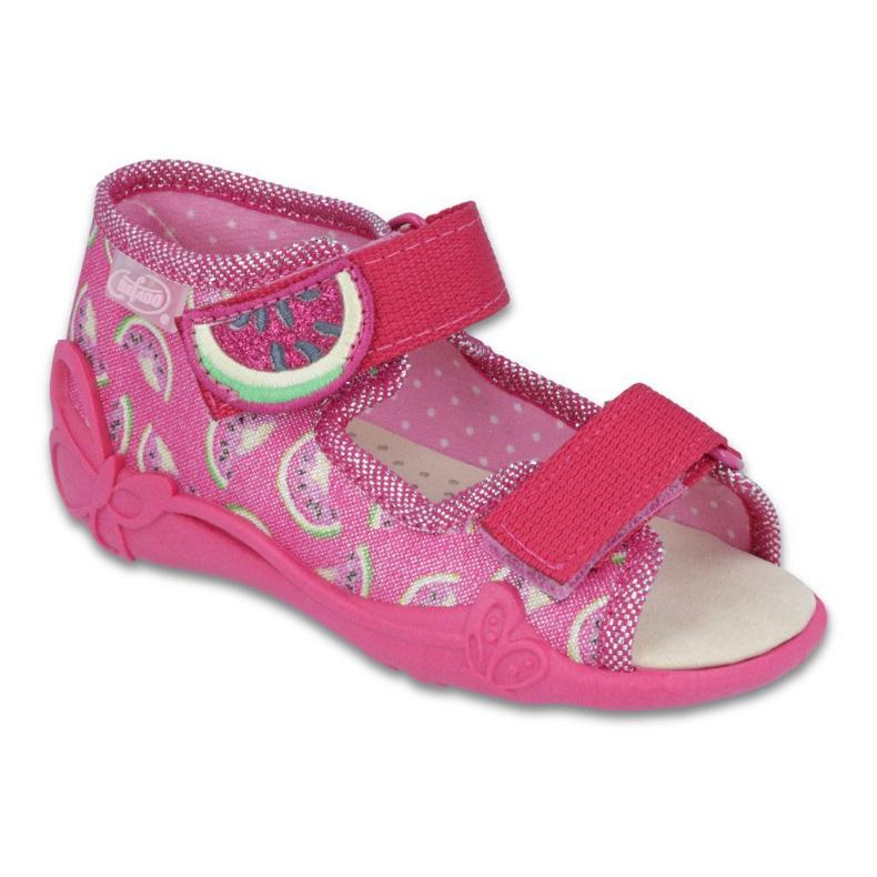 Růžový Befado žlutá dětská obuv 342P004