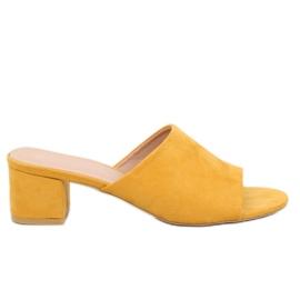 Žlutý Žluté žabky s vysokým podpatkem QL-89 Yellow