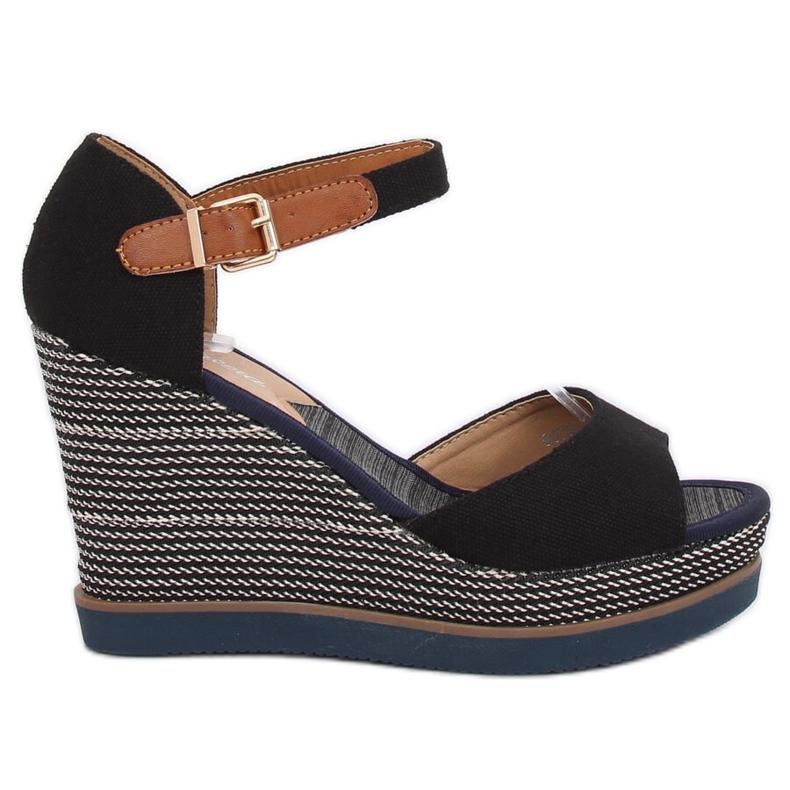 Sandály, klínové podpatky, černá 9079 Černá