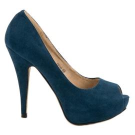 Corina Suede Heels Open Toe modrý