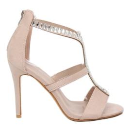 Sandály na čepu béžová B-60 Béžová hnědý