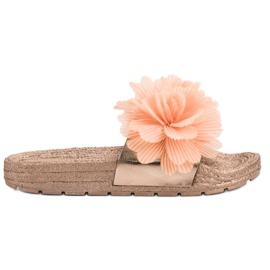 Seastar Oranžové Pantofle S Květinami