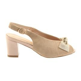 Hnědý Sandály kožené semišové Sergio Leone 801