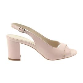 Růžový Dámské sandály na postu Badura 4728 prášková růžová