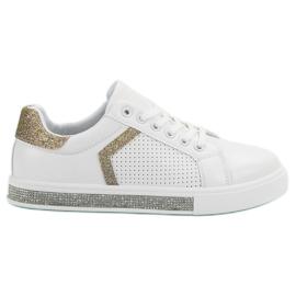 Ideal Shoes Sportovní obuv se zirkony bílá