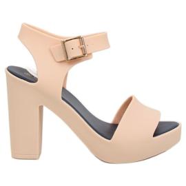 Sandály vysoké podpatky meliski béžové KM202 D.BEIGE / NAVY hnědý