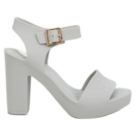 Sandály vysoké podpatky meliski šedá KM202 L.GREY