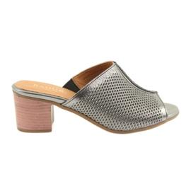 Šedá Dámské stříbrné pantofle Badura 5311