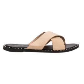 Small Swan hnědý Béžová pantofle