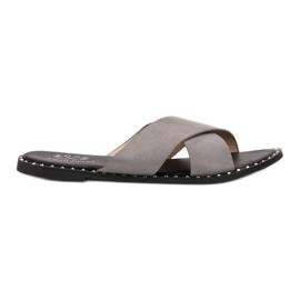 Small Swan šedá Šedé semišové pantofle
