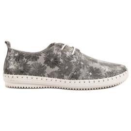 Filippo šedá Vázané kožené boty