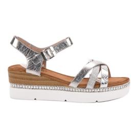 Seastar šedá Módní sandály se zirkony