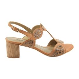 Hnědý Dámské sandály karamel / panter Anabelle 1352
