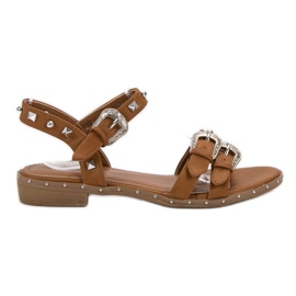 Small Swan hnědý Velbloudí sandály s čepy