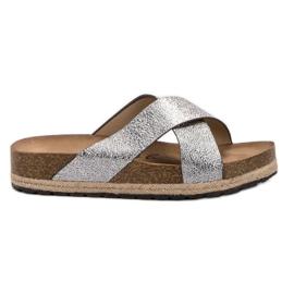 Goodin šedá Pohodlné stříbrné pantofle