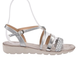 Kylie šedá Stříbrné Sandály Na Platformě