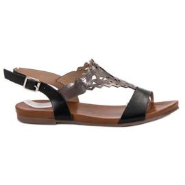 Kylie černá Stylové ploché sandály