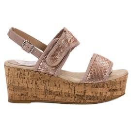 Kylie růžový Sandály se suchým zipem