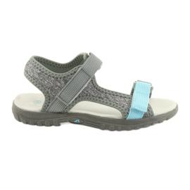 Sandály s koženou vložkou American Club RL10 šedá / modrá