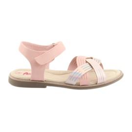 Růžový Sandály kovové holky American Club GC23