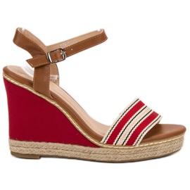 Primavera červená Příležitostné klínové sandály