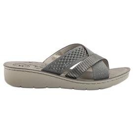 Evento šedá Pohodlné šedé pantofle