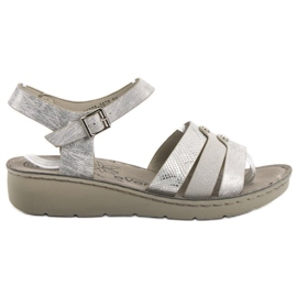 Evento šedá Stříbrné sandály