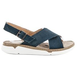 Filippo modrý Kožené Sandály Na Platformě