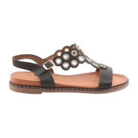 Černá Dámské černé sandály zirkony Sergio Leone