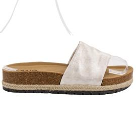 Kylie šedá Lesklé stříbrné pantofle