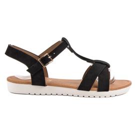 EXQUILY černá Klasické semišové sandály