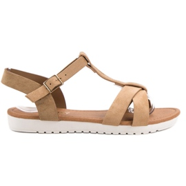 EXQUILY hnědý Klasické semišové sandály
