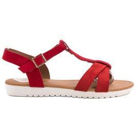 EXQUILY červená Klasické semišové sandály