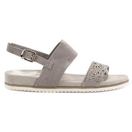 Evento šedá Šedé prolamované sandály