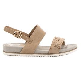 Evento hnědý Béžové prolamované sandály