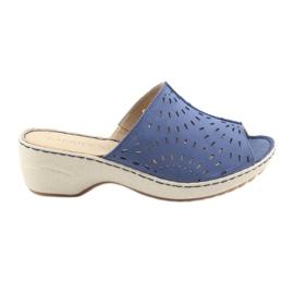 Modrý Dámské pantofle koturno Caprice 27351 džíny