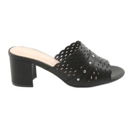 Černá Dámské černé pantofle Sergio Leone KL319