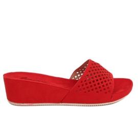 Červená Červené prolamované pantofle JS-03 Red